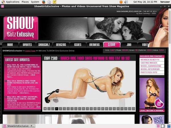 Showgirlz Exclusive Register